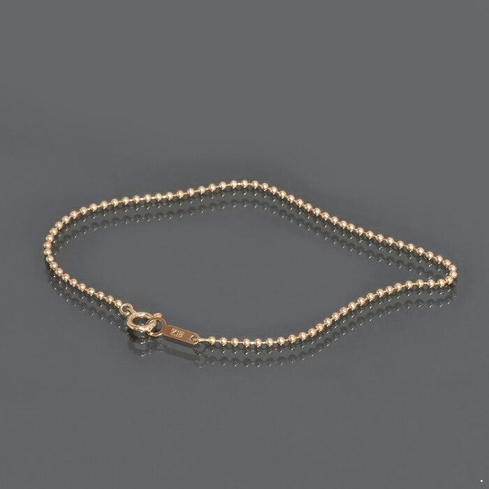 ブレスレット チェーン 18金 ピンクゴールド ボールチェーン 幅1.5mm 長さ15cm|鎖 K18PG 18k 貴金属 ジュエリー レディース メンズ