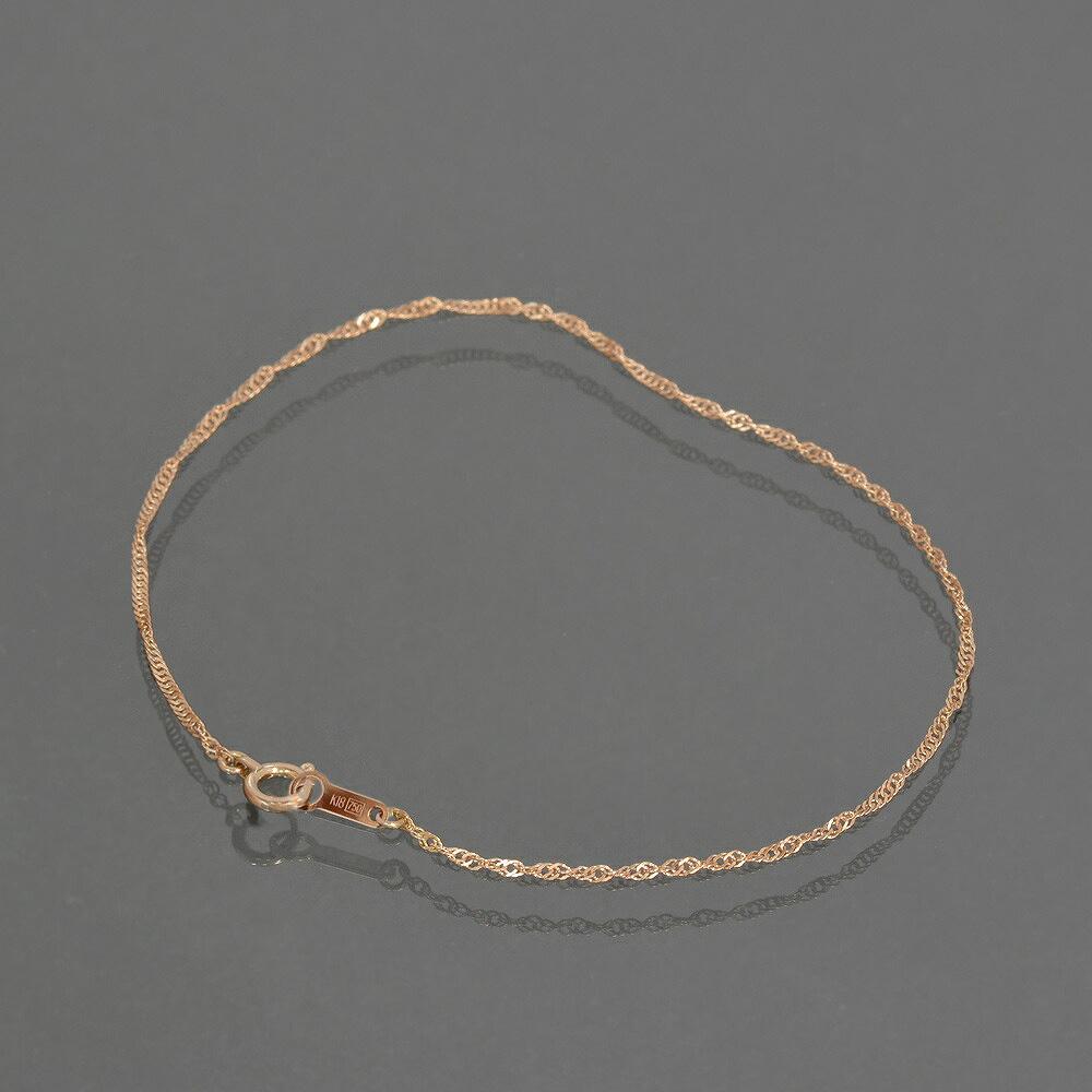 ブレスレット チェーン 18金 ピンクゴールド スクリューチェーン 幅1.3mm 長さ15cm|鎖 K18PG 18k 貴金属 ジュエリー レディース メンズ