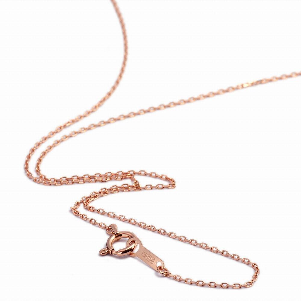 ネックレス チェーン 18金 ピンクゴールド 4面カット小豆チェーン 幅0.8mm 長さ38cm|鎖 K18PG 18k 貴金属 ジュエリー レディース メンズ