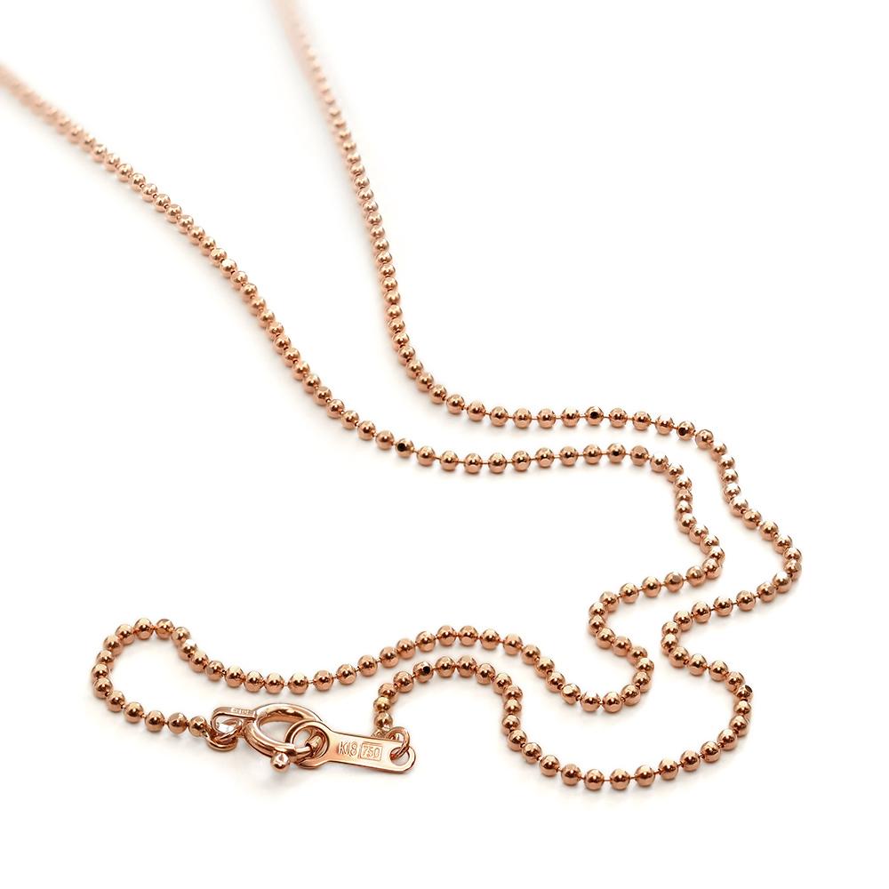ネックレス チェーン 18金 ピンクゴールド カットボールチェーン 幅1.2mm 長さ38cm|鎖 K18PG 18k 貴金属 ジュエリー レディース メンズ