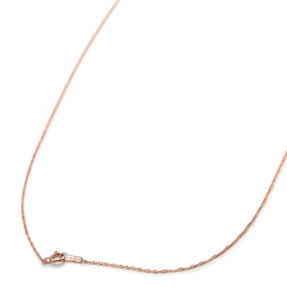ネックレス チェーン 18金 ピンクゴールド スクリューチェーン 幅1.0mm 長さ38cm|鎖 K18PG 18k 貴金属 ジュエリー レディース メンズ