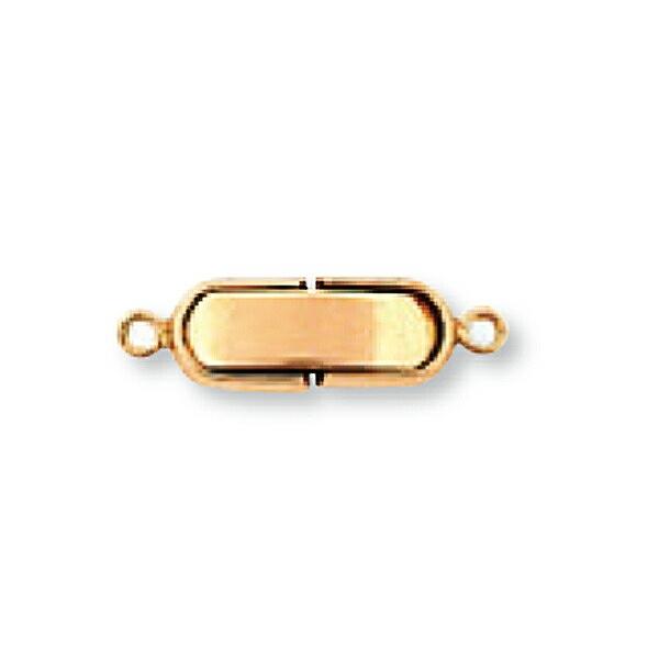 【1個売り】 留め具 18金 ピンクゴールド 中折れ式留具 丸平型 丸カン付き 縦17.0mm 横5.0mm クラスプ|手芸用品 金具 飾り パーツ 部品 K18PG 18k 貴金属