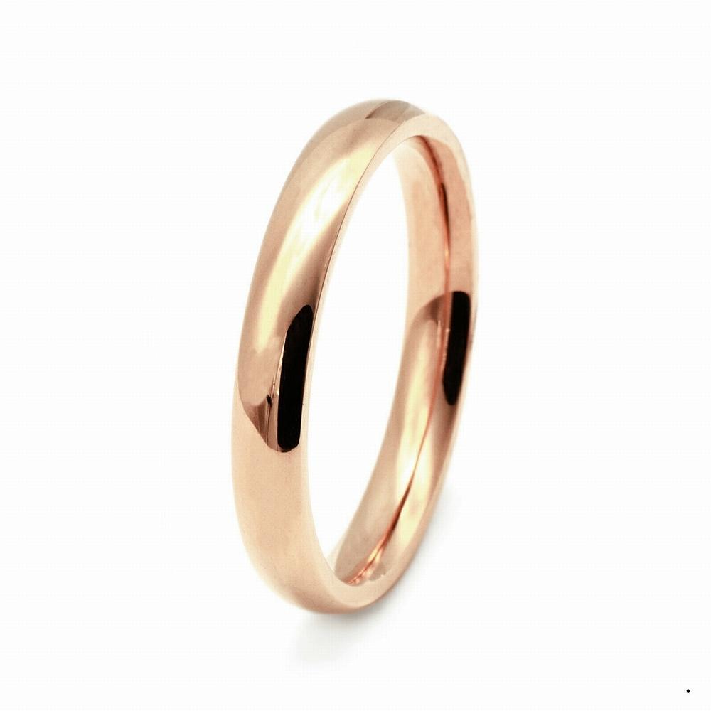 指輪 18金 ピンクゴールド 甲丸リング 幅3.0mm ピンキーリングもございます 地金リング|K18PG 18k 貴金属 ジュエリー レディース メンズ