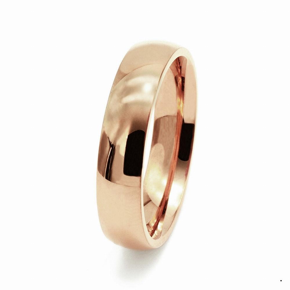 指輪 18金 ピンクゴールド 甲丸リング 幅5.0mm ピンキーリングもございます 地金リング|K18PG 18k 貴金属 ジュエリー レディース メンズ