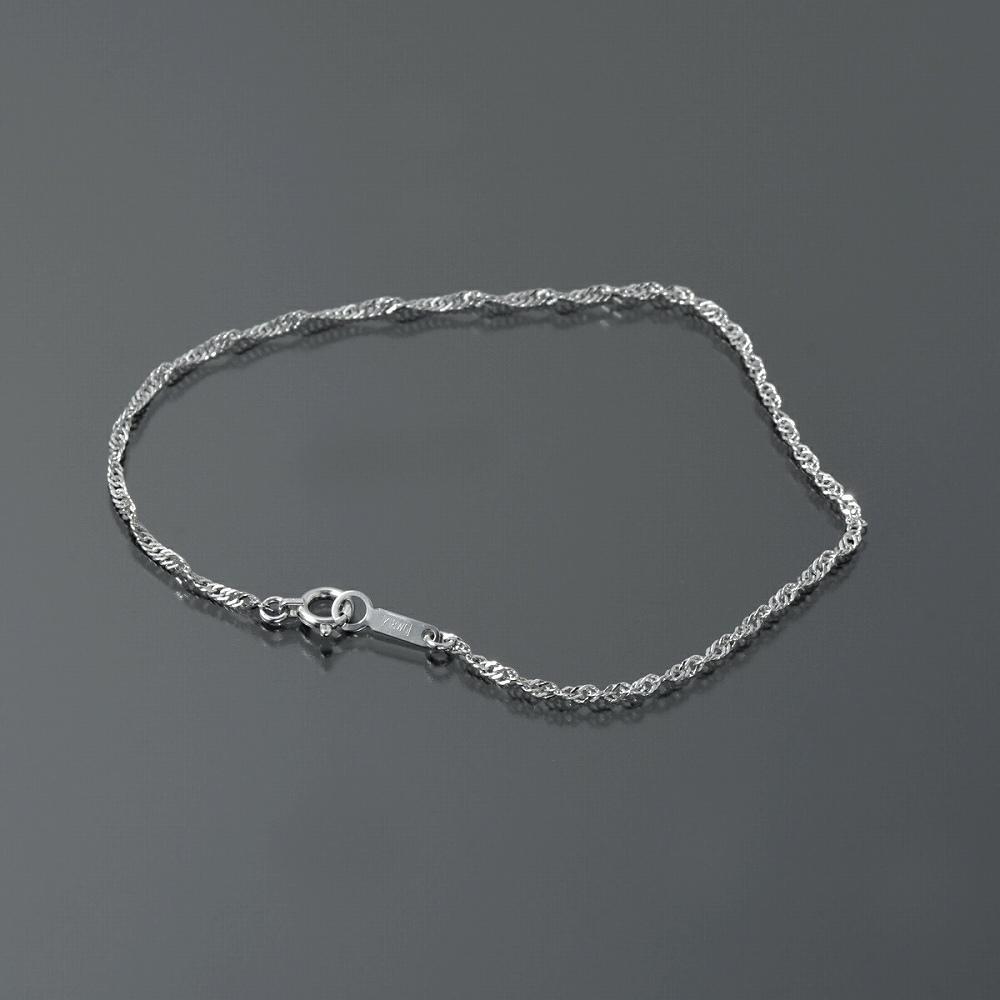 ブレスレット チェーン 18金 ホワイトゴールド スクリューチェーン 幅1.6mm 長さ15cm|鎖 K18WG 18k 貴金属 ジュエリー レディース メンズ
