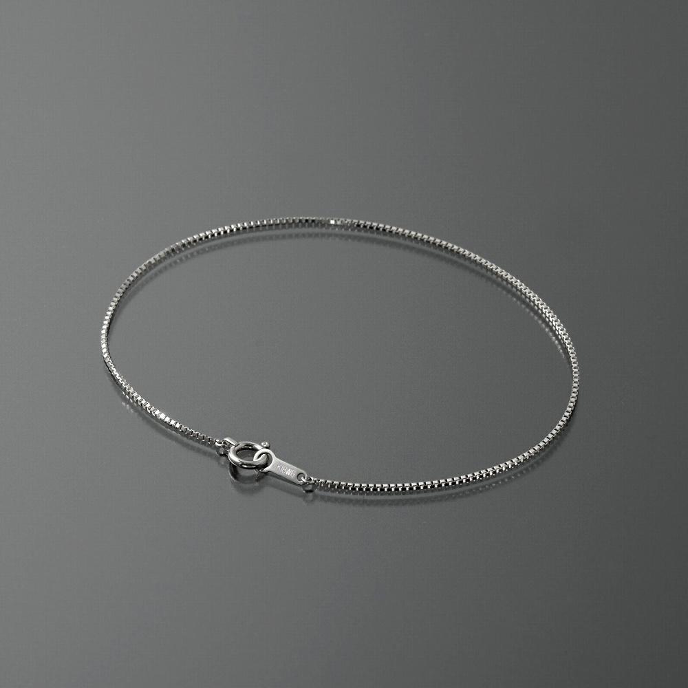 ブレスレット チェーン 18金 ホワイトゴールド ベネチアンチェーン 幅0.8mm 長さ15cm|鎖 K18WG 18k 貴金属 ジュエリー レディース メンズ