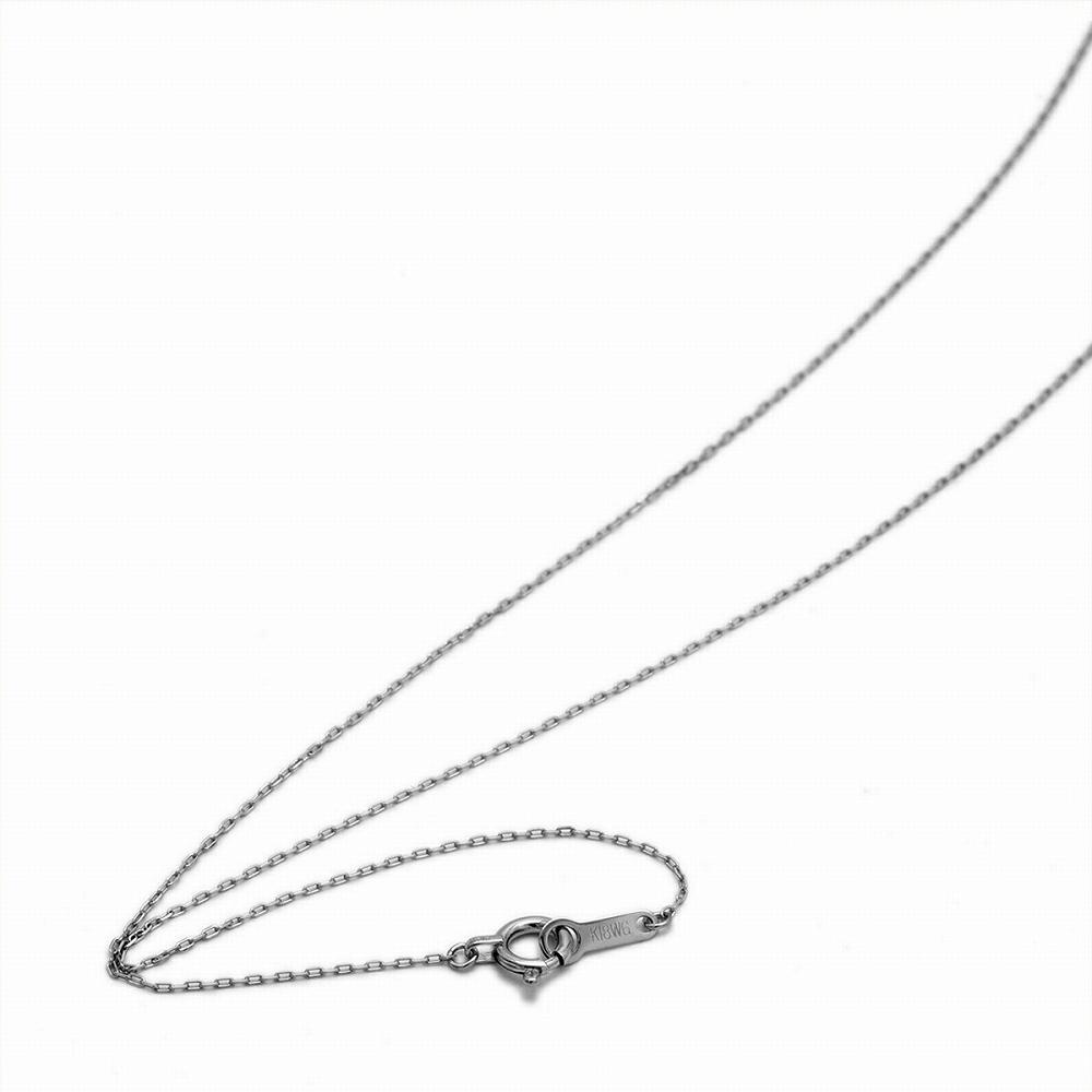 ネックレス チェーン 18金 ホワイトゴールド 4面カット小豆チェーン 幅0.7mm 長さ38cm|鎖 K18WG 18k 貴金属 ジュエリー レディース メンズ