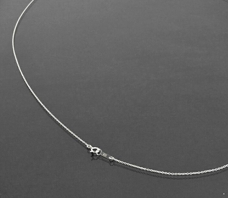 ネックレス チェーン 18金 ホワイトゴールド 小豆チェーン 幅1.1mm 長さ38cm|鎖 K18WG 18k 貴金属 ジュエリー レディース メンズ