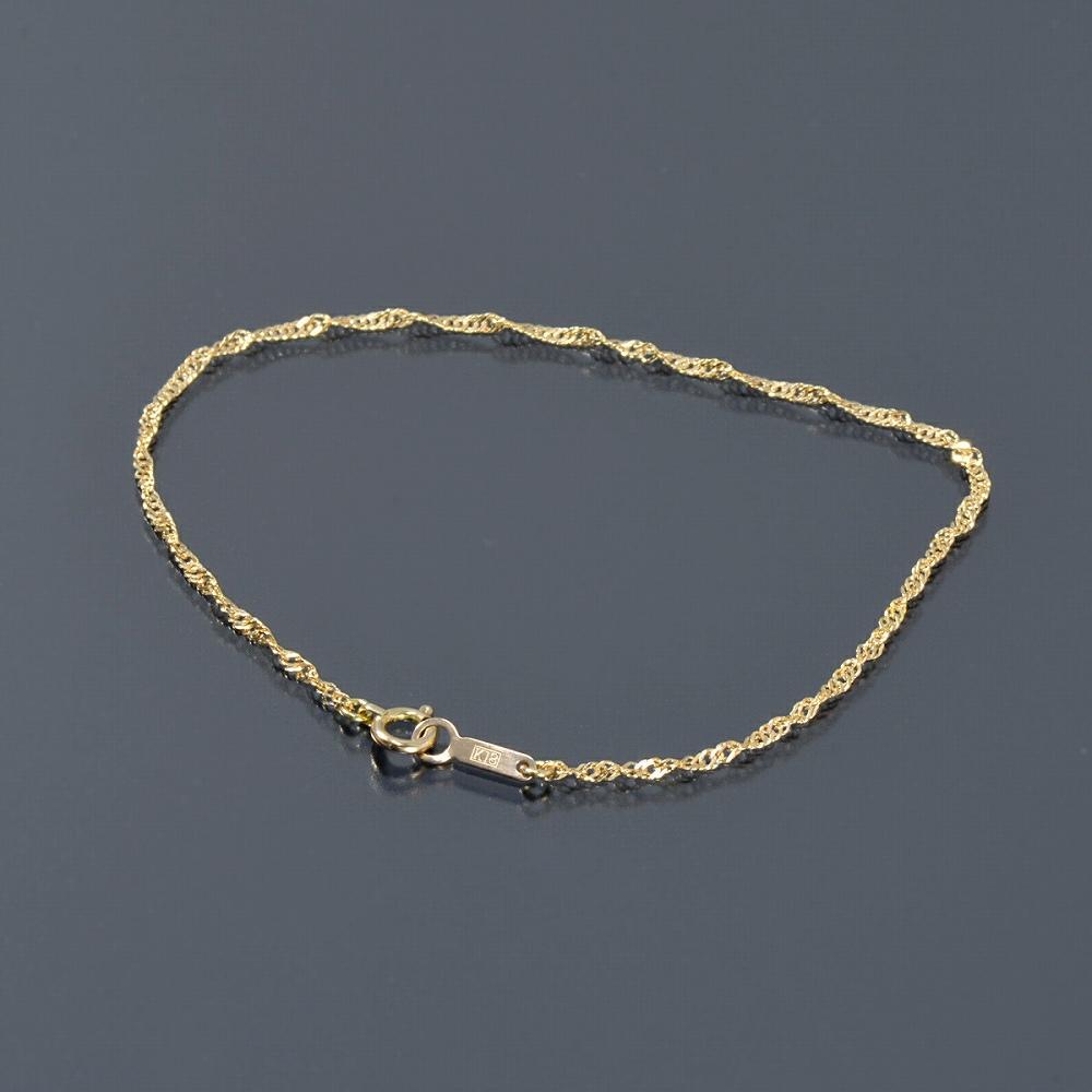 ブレスレット チェーン 18金 イエローゴールド スクリューチェーン 幅1.6mm 長さ15cm|鎖 K18YG 18k 貴金属 ジュエリー レディース メンズ