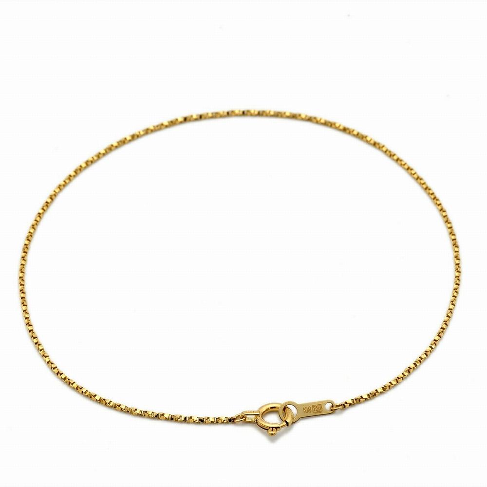 ブレスレット チェーン 18金 イエローゴールド ベネチアンツイストチェーン 幅0.9mm 長さ15cm|鎖 K18YG 18k 貴金属 ジュエリー レディース メンズ