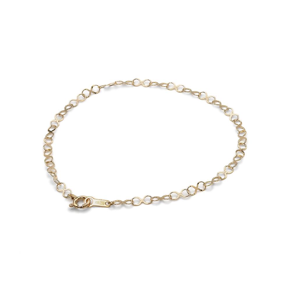 ブレスレット チェーン 18金 イエローゴールド インフィニティーチェーン 幅2.8mm 鎖 K18YG 18k 貴金属 ジュエリー レディース