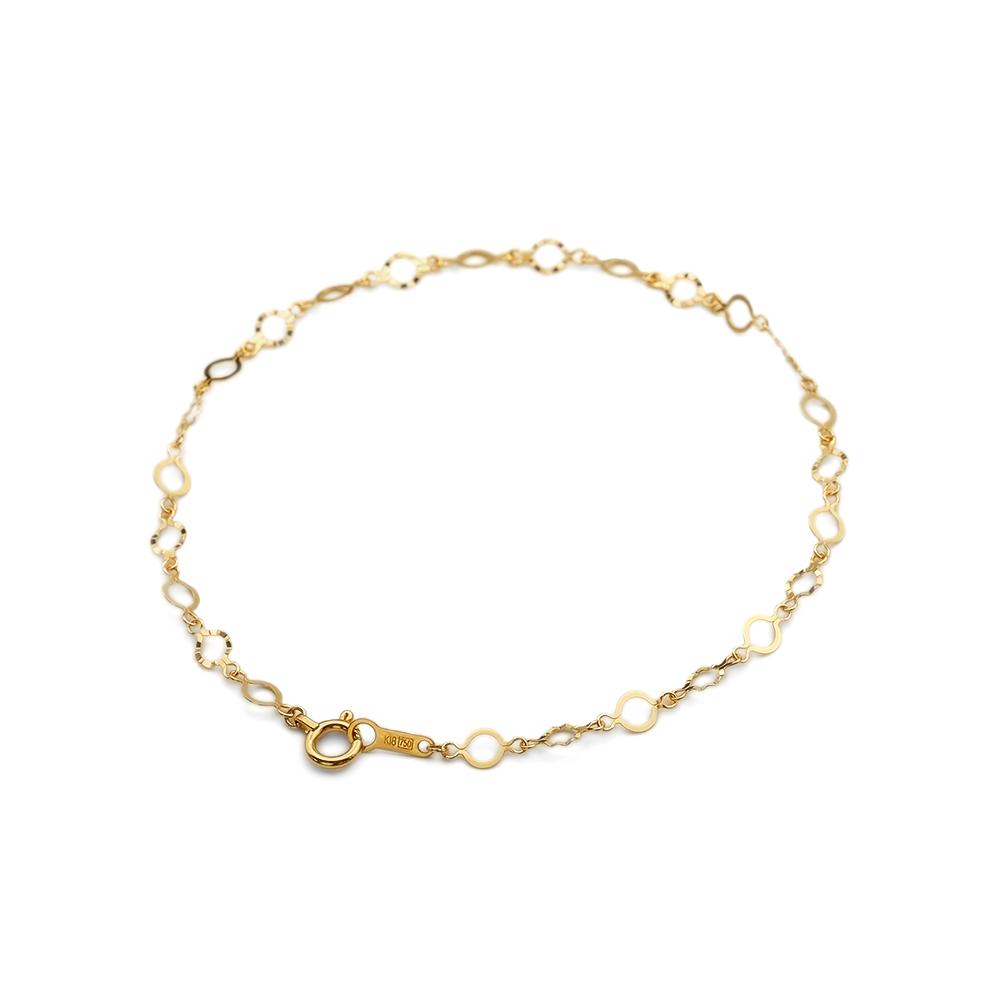 ブレスレット チェーン 18金 イエローゴールド サンライトチェーン 幅3.5mm|鎖 K18YG 18k 貴金属 ジュエリー レディース