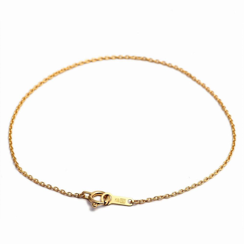 ギフト 母の日 チェーン 18k プレゼント K18YG イエローゴールド 18金 メンズ ジュエリー ブレスレット 幅1.1mm 無料ラッピング 小豆チェーン 貴金属 レディース 長さ15cm|鎖