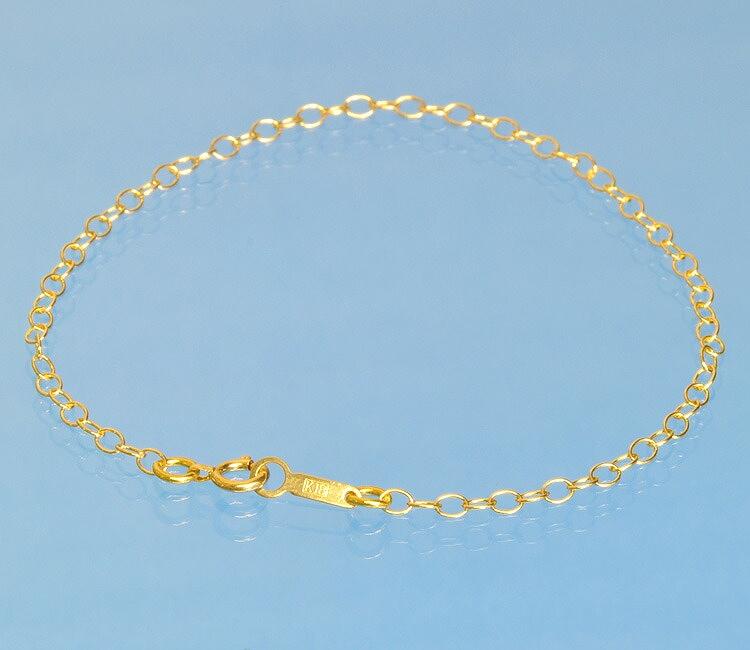 ブレスレット チェーン 18金 イエローゴールド 荒小豆チェーン 幅2.3mm 長さ15cm|鎖 K18YG 18k 貴金属 ジュエリー レディース メンズ
