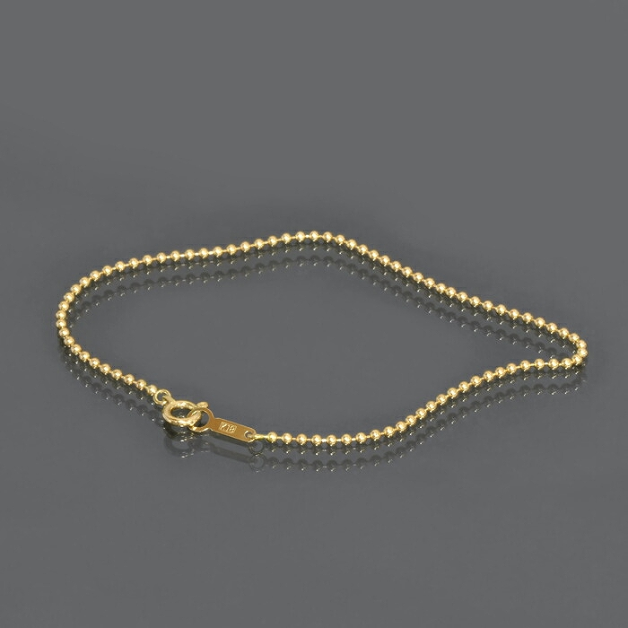 ブレスレット チェーン 18金 イエローゴールド ボールチェーン 幅1.5mm 長さ15cm 鎖 K18YG 18k 貴金属 ジュエリー レディース メンズ