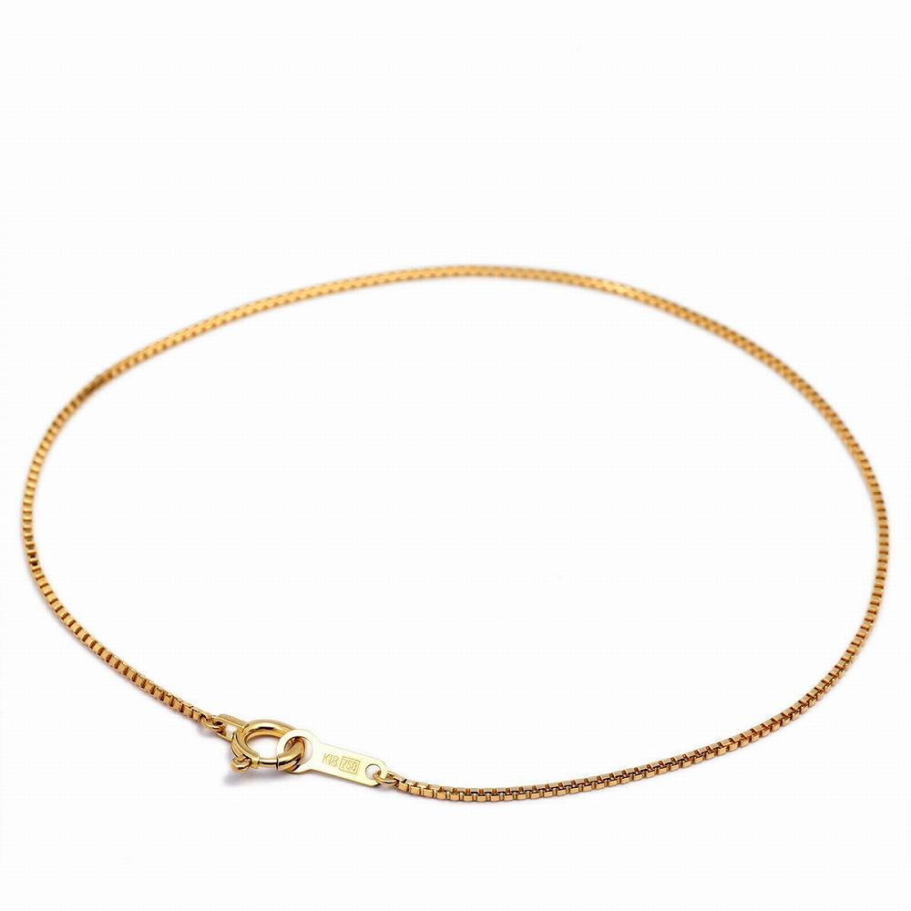 ブレスレット チェーン 18金 イエローゴールド ベネチアンチェーン 幅0.8mm 長さ15cm|鎖 K18YG 18k 貴金属 ジュエリー レディース メンズ