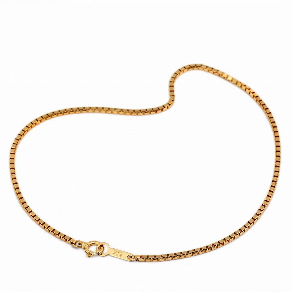 ブレスレット チェーン 18金 イエローゴールド ベネチアンチェーン 幅1.6mm 長さ15cm|鎖 K18YG 18k 貴金属 ジュエリー レディース メンズ