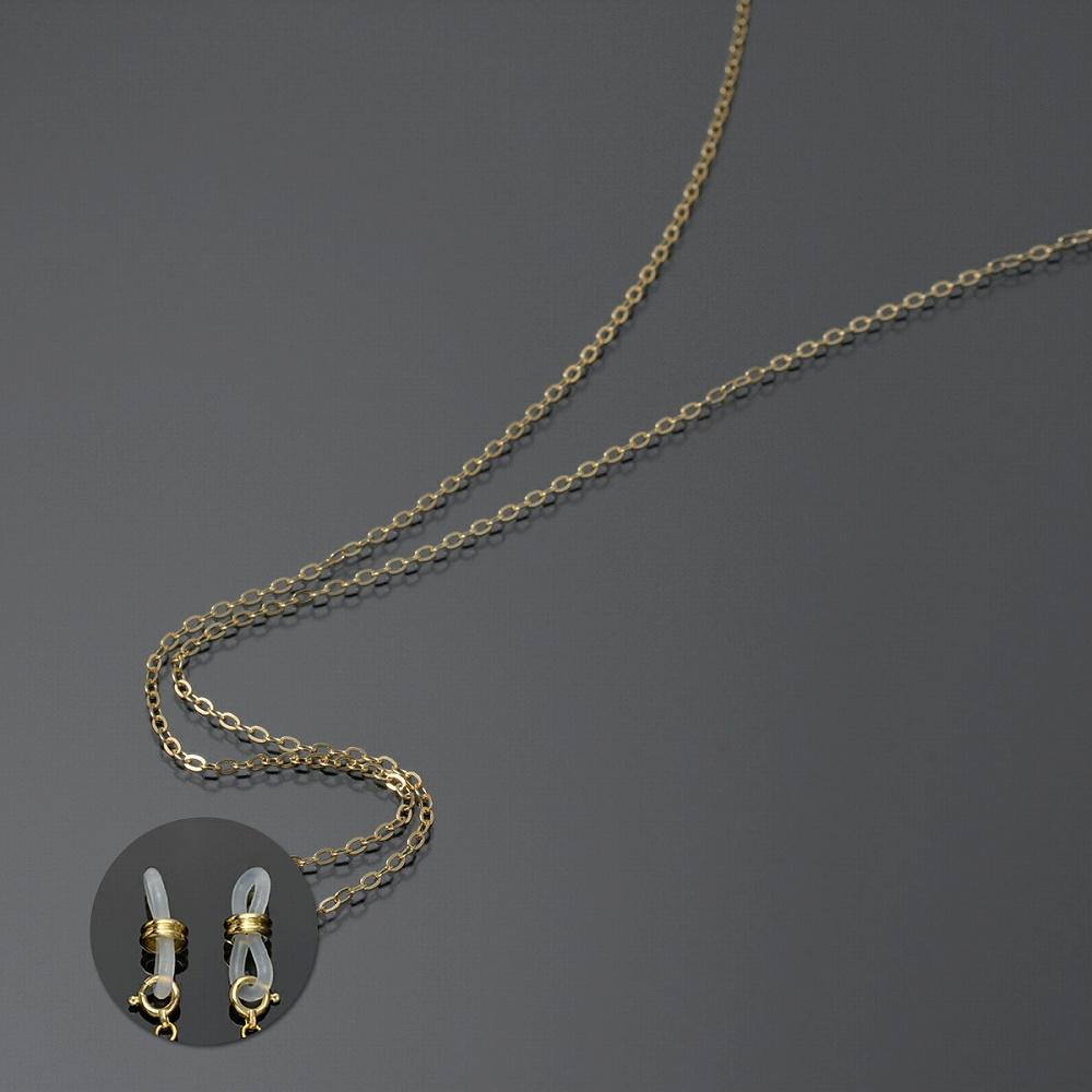 メガネチェーン 18金 イエローゴールド フラット荒小豆チェーン Wドーナツ型 幅1.8mm 長さ70cm|眼鏡 めがね用品 鎖 K18YG 18k 貴金属 ジュエリー レディース メンズ