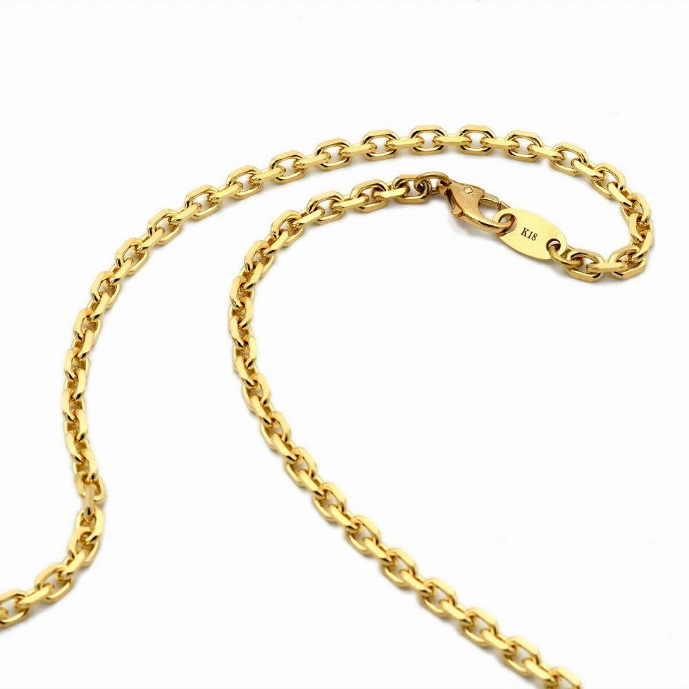 ネックレス チェーン 18金 イエローゴールド 4面カット小豆チェーン 幅3.3mm 長さ38cm|鎖 K18YG 18k 貴金属 ジュエリー レディース メンズ
