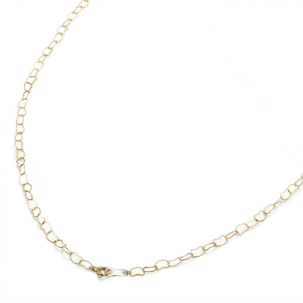 ネックレス チェーン 18金 イエローゴールド フラットネコチェーン 幅3.4mm|鎖 K18YG 18k 貴金属 ジュエリー レディース