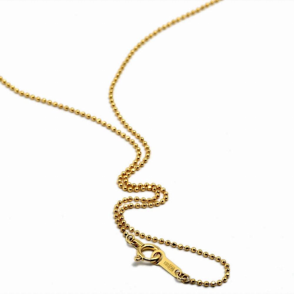 ネックレス チェーン 18金 イエローゴールド カットボールチェーン 幅1.0mm 長さ38cm|鎖 K18YG 18k 貴金属 ジュエリー レディース メンズ