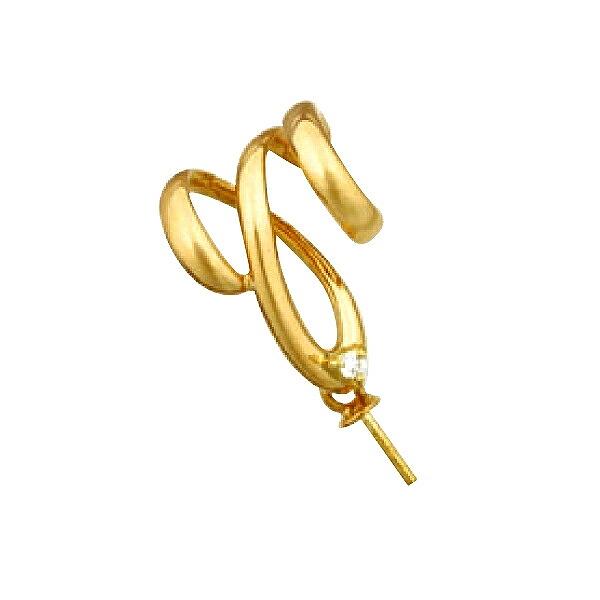 【1個売り】 真珠用パーツ 18金 イエローゴールド 流線デザインペンダントトップパーツ 0.01ctのダイヤモンド1個付き パール用 片穴ビーズ用 ヒートン つきさし付バチカン|手芸用品 金具 飾り パーツ 部品 K18YG 18k 貴金属