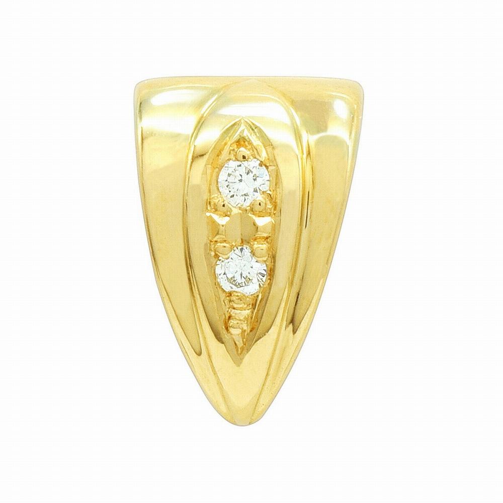 【1個売り】 バチカン 18金 イエローゴールド ダイヤモンド2個付きバチカン 縦9.6mm 横6.0mm ペンダントトップ用 手芸用品 金具 飾り パーツ 部品 K18YG 18k 貴金属