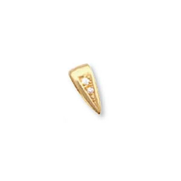 【1個売り】 バチカン 18金 イエローゴールド ダイヤモンド2個付きバチカン 縦10.5mm 横4.5mm ペンダントトップ用|手芸用品 金具 飾り パーツ 部品 K18YG 18k 貴金属