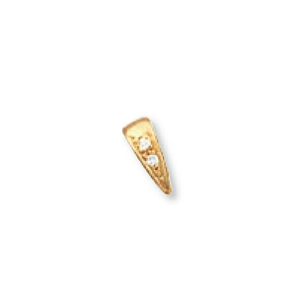 【1個売り】 バチカン 18金 イエローゴールド ダイヤモンド2個付きバチカン 縦9.5mm 横3.7mm ペンダントトップ用|手芸用品 金具 飾り パーツ 部品 K18YG 18k 貴金属