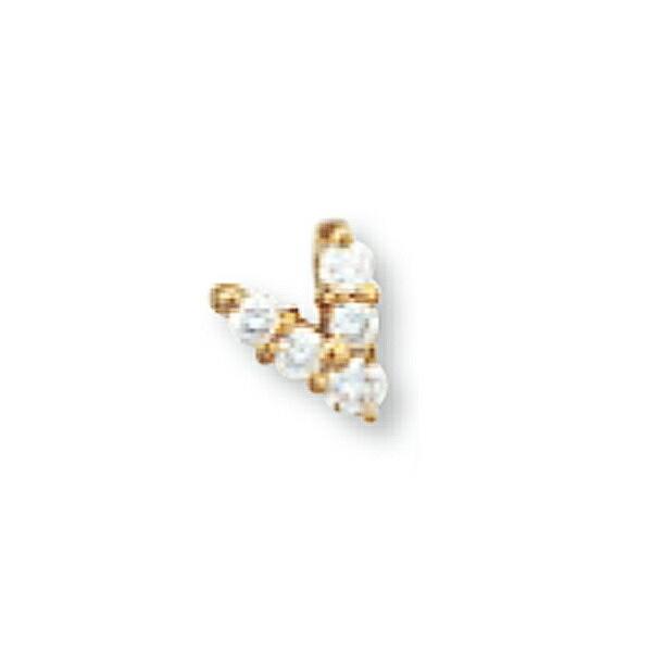 【1個売り】 バチカン 18金 イエローゴールド ダイヤモンド5個付きダブルバチカン 縦7.0mm 横5.6mm ペンダントトップ用|手芸用品 金具 飾り パーツ 部品 K18YG 18k 貴金属