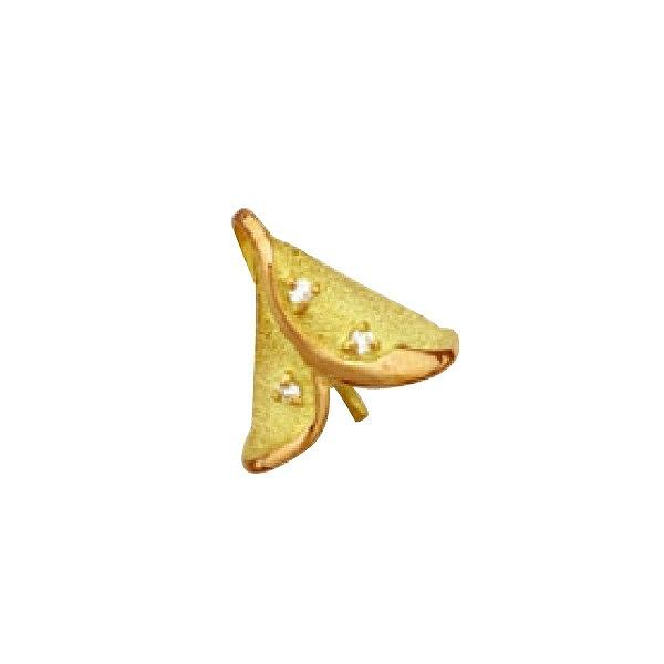 【1個売り】 真珠用パーツ 18金 イエローゴールド フラワーモチーフペンダントトップパーツ 笠タイプ 9.5mmから10.5mm玉用 0.03ctのダイヤモンド付き パール用 片穴ビーズ用 ヒートン つきさし付バチカン|手芸用品 金具 飾り パーツ 部品 K18YG 18k 貴金属