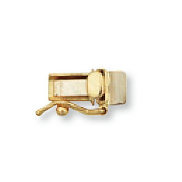 【1個売り】 留め具 18金 イエローゴールド 差し込み式クラスプ セーフティー付き 縦9.5mm 横4.0mm|手芸用品 金具 飾り パーツ 部品 K18YG 18k 貴金属