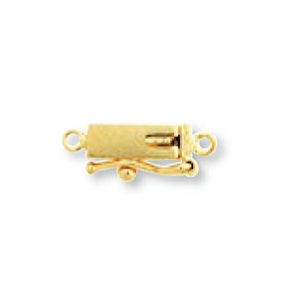 【1個売り】 留め具 18金 イエローゴールド 差し込み式クラスプ セーフティー付き 丸カン付き 縦14.0mm 横3.0mm|手芸用品 金具 飾り パーツ 部品 K18YG 18k 貴金属