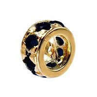 【1個売り】 ロンデル 18金 イエローゴールド 平ロンデル サファイア8個入り 外径5.5mm 高さ5.5mm スペーサー ラインストーン|手芸用品 金具 飾り パーツ 部品 K18YG 18k 貴金属