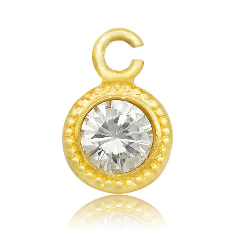 【1個売り】 チャームパーツ 18金 イエローゴールド 天然石 ダイヤモンドのチャーム ラウンド型 縦5.0mm 横3.5mm 丸型 マル型 手芸用品 金具 飾り パーツ 部品 K18YG 18k 貴金属