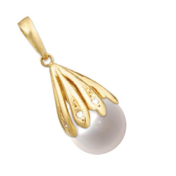 ペンダントトップ 18金 イエローゴールド あこや真珠ペンダント 9.0mm玉 0.05ctのダイヤモンド付き ペンダントヘッドのみ パール K18YG 18k 貴金属 ジュエリー レディース
