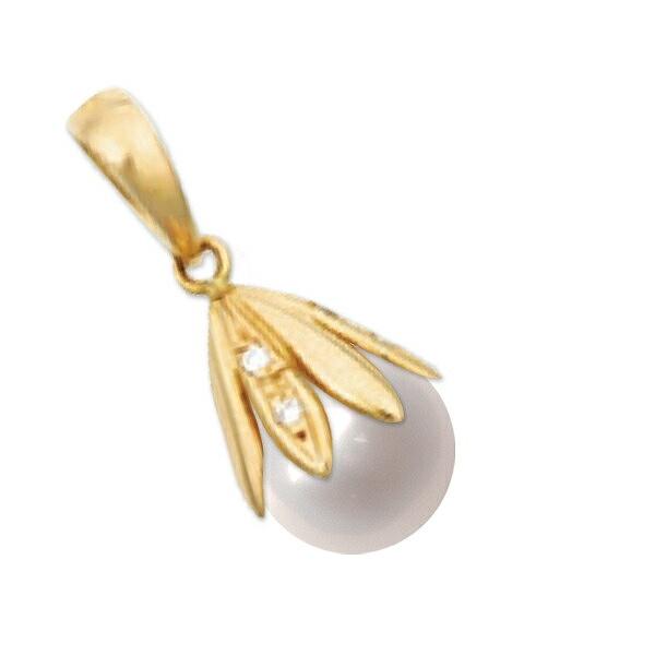 ペンダントトップ 18金 イエローゴールド あこや真珠ペンダント 8.0mm玉 0.05ctのダイヤモンド付き ペンダントヘッドのみ パール|K18YG 18k 貴金属 ジュエリー レディース
