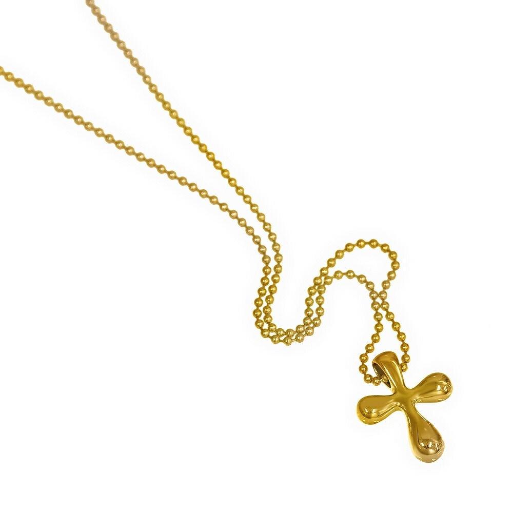 ペンダントトップ 18金 イエローゴールド ふっくらクロスのペンダント ペンダントヘッドのみ 十字架|K18YG 18k 貴金属 ジュエリー レディース メンズ