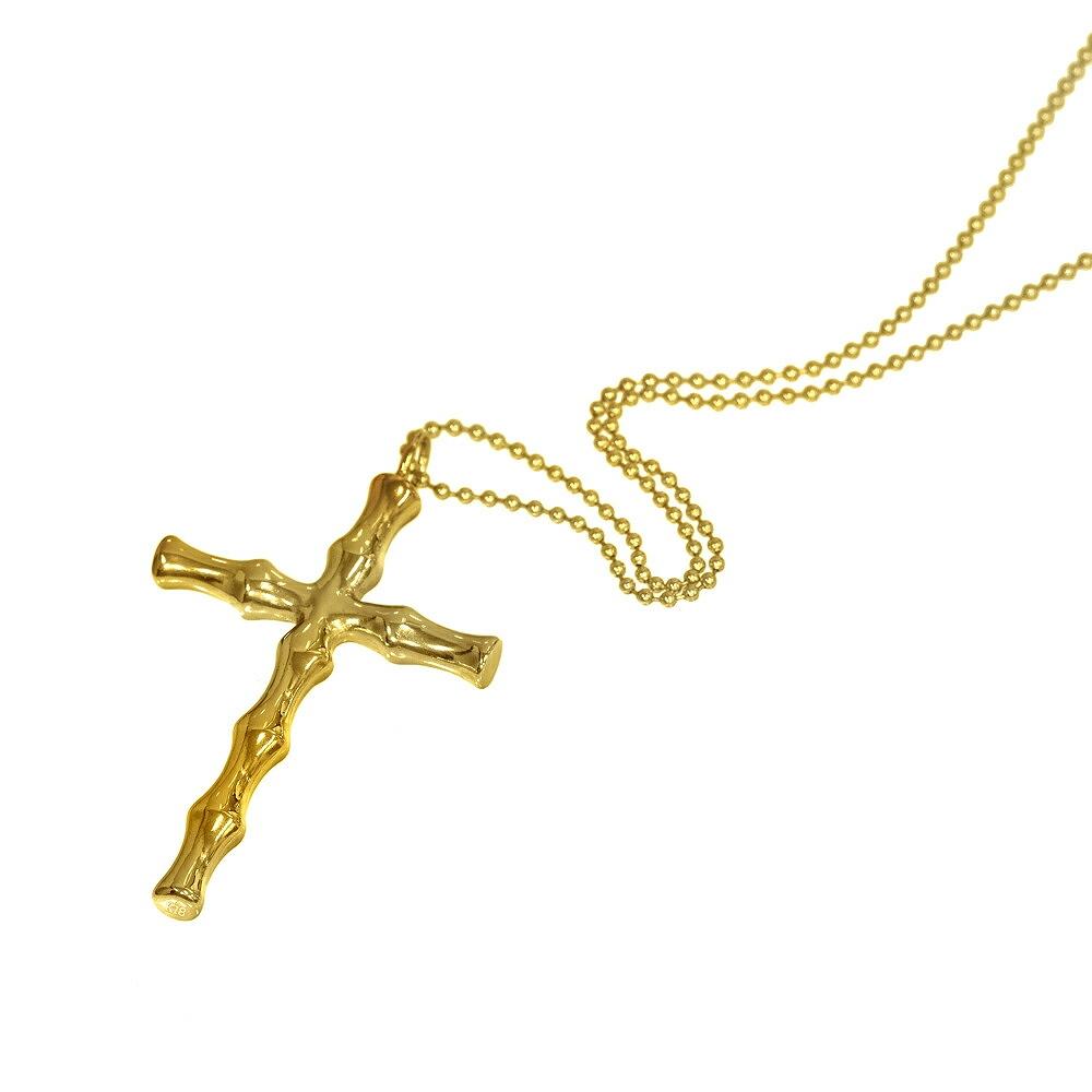 ペンダントトップ 18金 イエローゴールド バンブークロスのペンダント ペンダントヘッドのみ 十字架|K18YG 18k 貴金属 ジュエリー レディース メンズ
