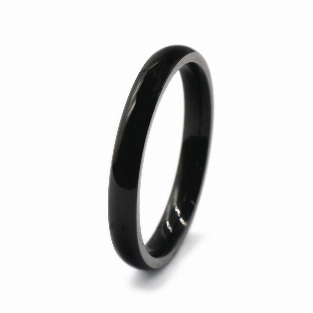 信頼 内祝い 金属アレルギーに強い 医療用ステンレス製の指輪 指輪 サージカルステンレス シンプルな甲丸リング 幅3.0mm 黒 ブラック 医療用ステンレス レディース アクセサリー メンズ
