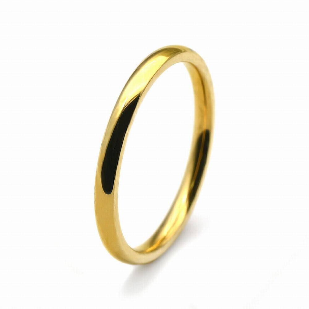 金属アレルギーに強い!医療用ステンレス製の指輪 指輪 サージカルステンレス シンプルな甲丸リング 幅2.0mm 金色 ゴールド|医療用ステンレス アクセサリー レディース メンズ