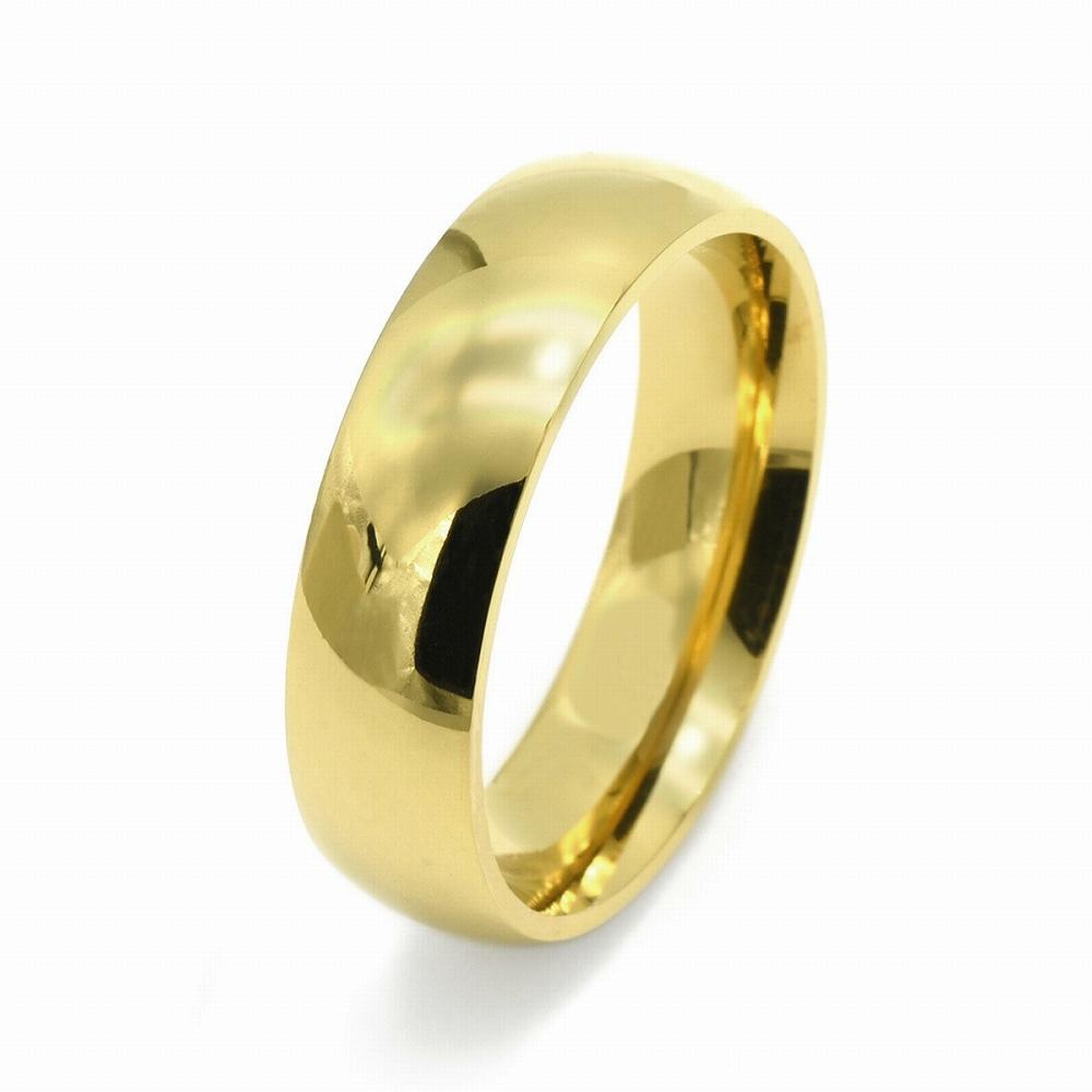 金属アレルギーに強い 日本産 医療用ステンレス製の指輪 指輪 サージカルステンレス シンプルな甲丸リング 幅6.0mm メンズ 金色 在庫あり レディース アクセサリー 医療用ステンレス ゴールド