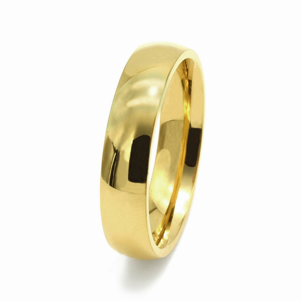 金属アレルギーに強い 医療用ステンレス製の指輪 指輪 サージカルステンレス シンプルな甲丸リング 幅5.0mm 金色 ゴールド 医療用ステンレス 爆安 完売 メンズ レディース アクセサリー