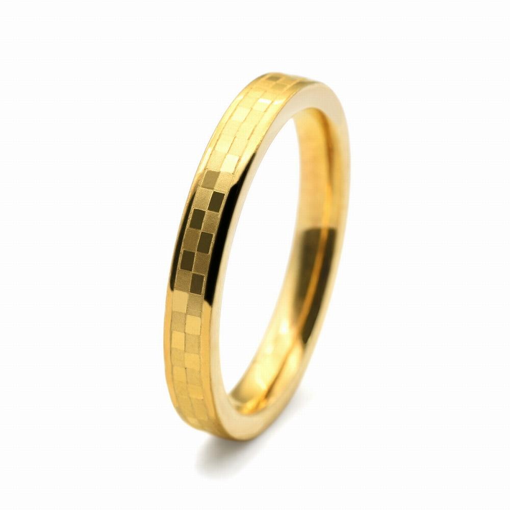 金属アレルギーに強い!医療用ステンレス製の指輪 指輪 サージカルステンレス 市松模様入りのリング 金色 ゴールド|医療用ステンレス アクセサリー レディース メンズ