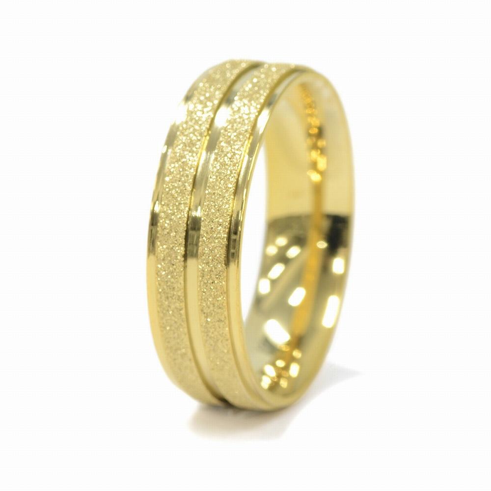 金属アレルギーに強い 医療用ステンレス製の指輪 指輪 サージカルステンレス ラメコーティングの段付き二本ライン入りリング ストア 値引き 幅6.0mm アクセサリー ゴールド レディース 医療用ステンレス 金色 メンズ