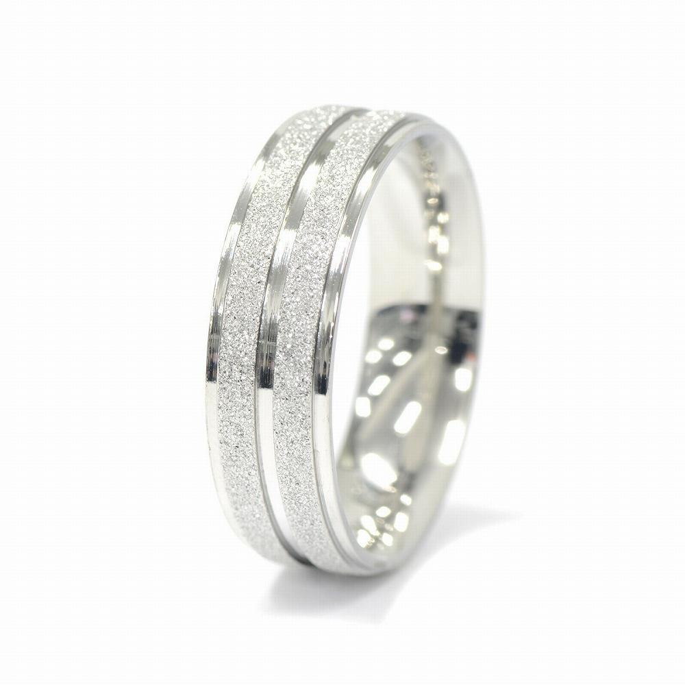金属アレルギーに強い 医療用ステンレス製の指輪 売り込み 指輪 サージカルステンレス ラメコーティングの段付き二本ライン入りリング 幅6.0mm 医療用ステンレス 銀色 お見舞い アクセサリー シルバー メンズ レディース