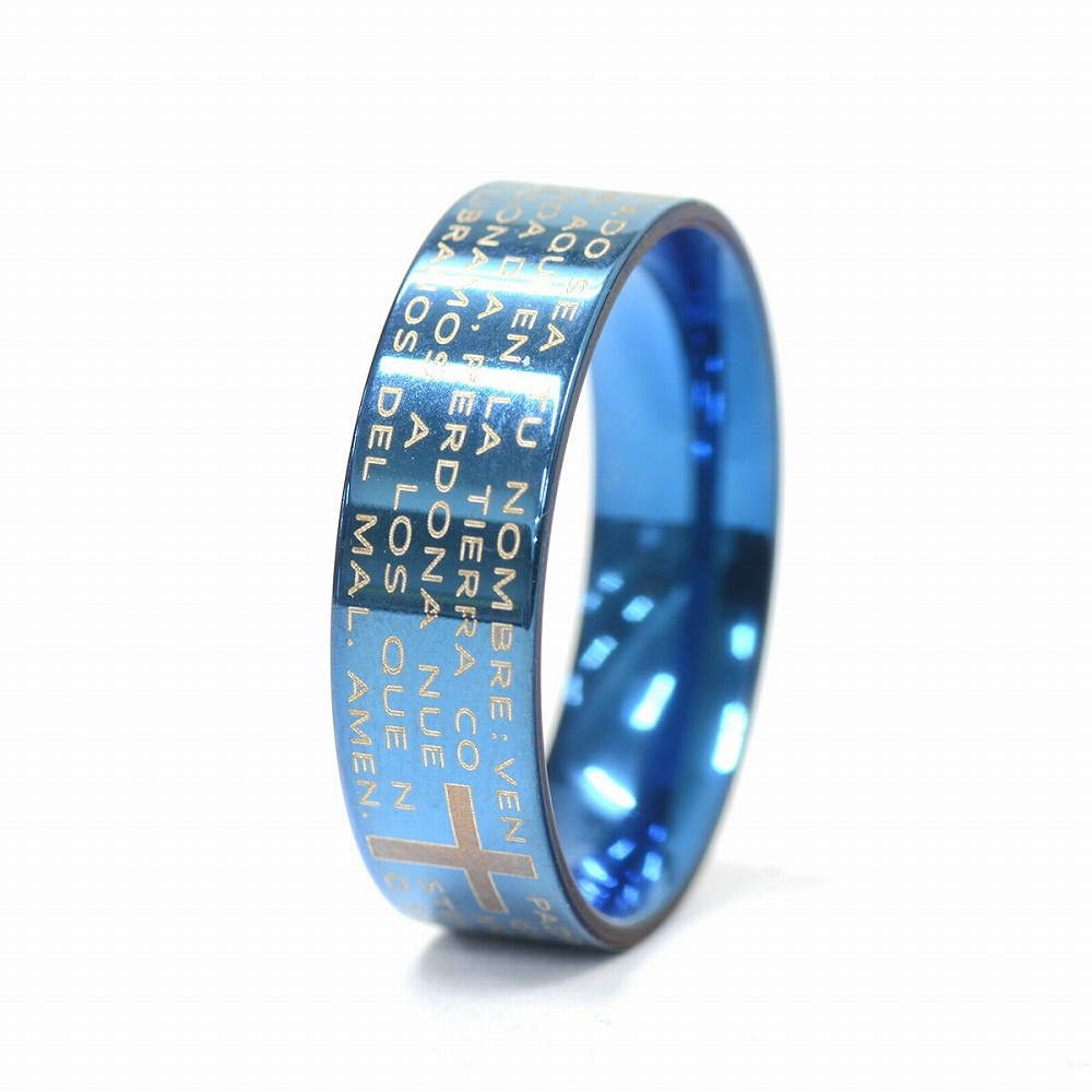 金属アレルギーに強い 医療用ステンレス製の指輪 最安値挑戦 マーケット 指輪 サージカルステンレス メッセージ入りリング 幅6.0mm 医療用ステンレス レディース ブルー 青 メンズ アクセサリー
