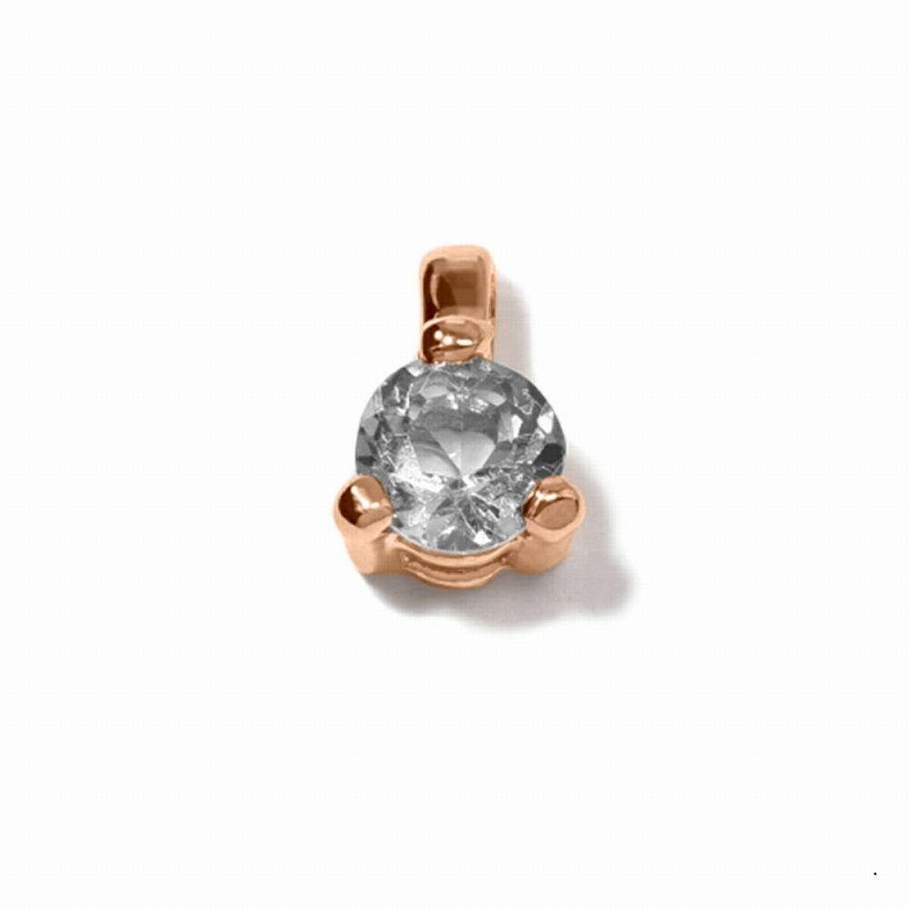 ペンダントトップ 18金 ピンクゴールド 天然石 一粒ペンダント 主石の直径約3.4mm 二段腰 三本爪留め ペンダントヘッドのみ|K18PG 18k 貴金属 ジュエリー レディース メンズ