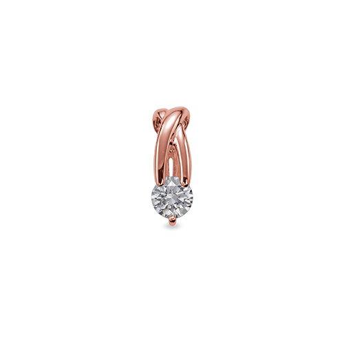 ペンダントトップ 18金 ピンクゴールド 天然石 ウェーブラインの一粒ペンダント 主石の直径約3.8mm ペンダントヘッドのみ|K18PG 18k 貴金属 ジュエリー レディース メンズ