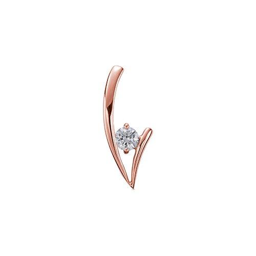 ペンダントトップ 18金 ピンクゴールド 天然石 V字モチーフの一粒ペンダント 主石の直径約4.4mm 二本爪留め ペンダントヘッドのみ|K18PG 18k 貴金属 ジュエリー レディース メンズ